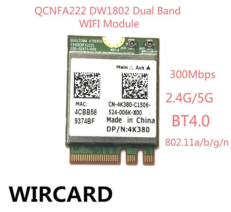 Atheros QCNFA222 AR9462 DW1802 Dual band NGFF 300Mbps Wlan 802.11a/b/g/n 2.4GHz/5GHz Wireless Wifi + Bluetooth BT 4.0 Mini Card
