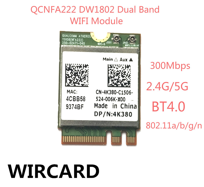 Atheros QCNFA222 AR9462 DW1802 Dual band NGFF 300Mbps Wlan 802.11a/b/g/n 2.4GHz/5GHz Wireless Wifi + Bluetooth BT 4.0 Mini Card