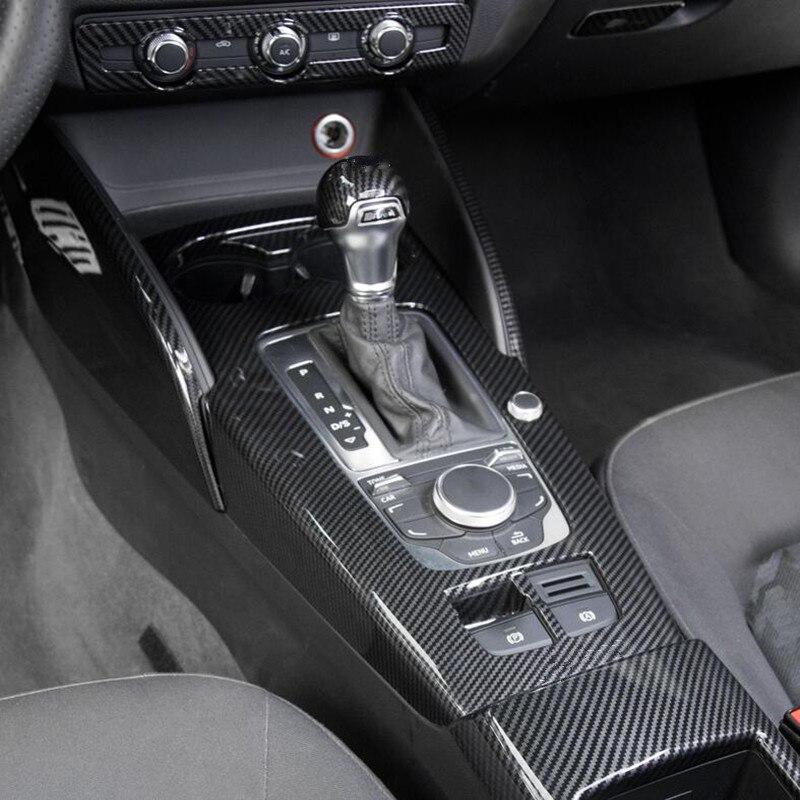Garniture centrale de couvercle de décoration de cadre de changement de vitesse pour Audi A3 8 V 2014-2018 LHD ABS accessoires de style de voiture en Fiber de carbone