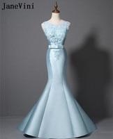 JaneVini Mermaid Długie Suknie Druhna Light Blue Sky Curt z Koronki Zroszony Sweep Pociąg Ślubne Suknie Party Prom Suknia