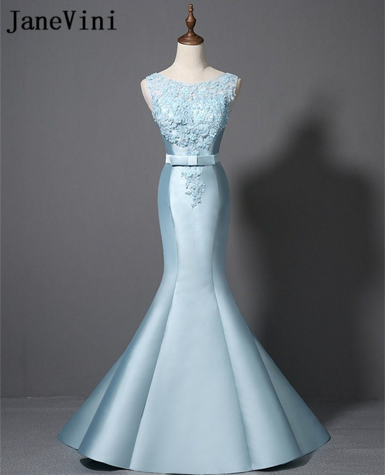 JaneVini Mermaid Long   Bridesmaid     Dresses   Light Sky Blue Curt with Lace Beaded Sweep Train Wedding Party Gowns Prom Formal   Dress