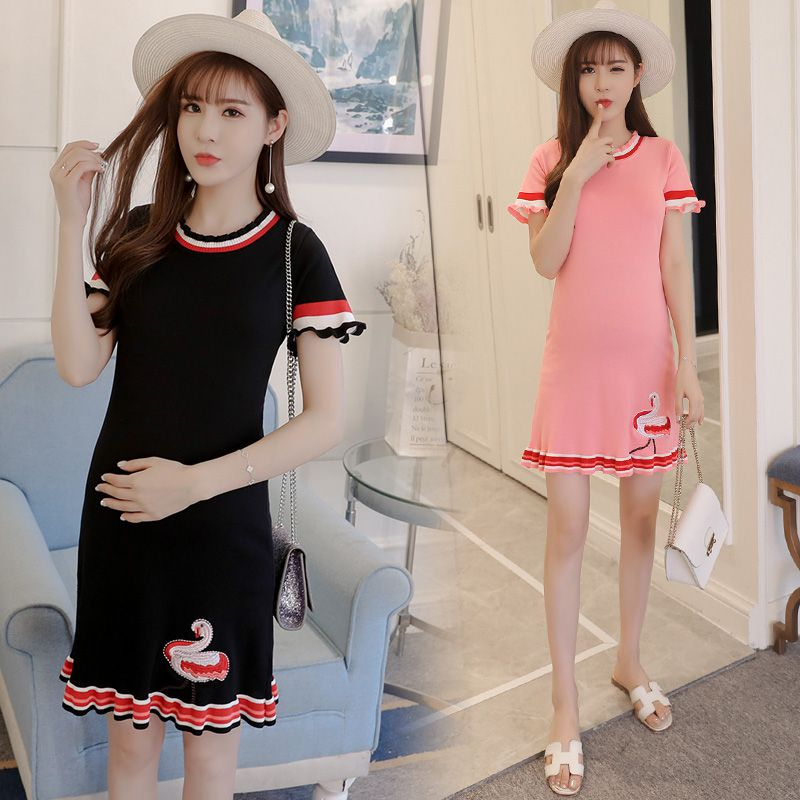 New Korean version of the summer long dresses embroidered flamingo maternity clothes