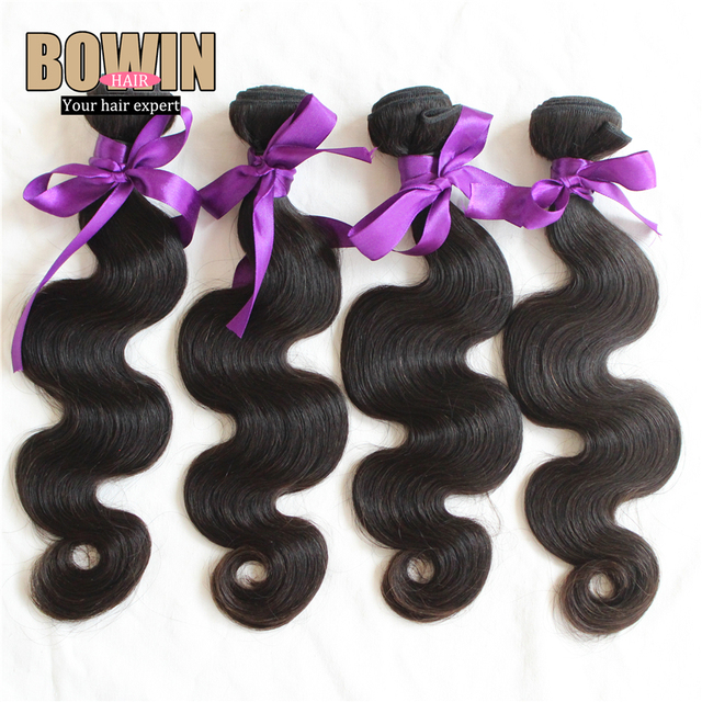 Unprocessed AAAAAA Peruvian Virgin Hair Body Wave 4pcs Lot  Bowin Hair Bundles100% Human Hair Weave Wavy Tangle Free