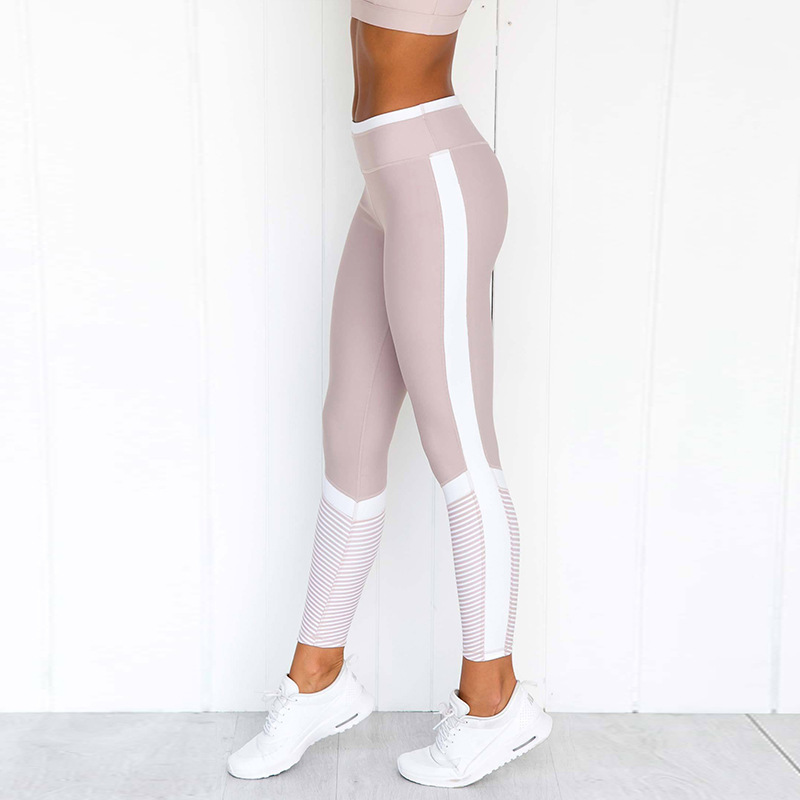 Sexy Fashion Printing Stitching Leggings Breathable Fitness Casual Pants Jeggings White Stripe Workout Leggins