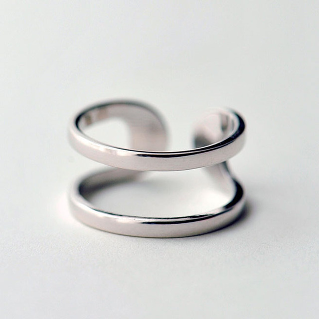 925-sterling-silver Personality Double Open Rings For Women Fashion Hypoallergen