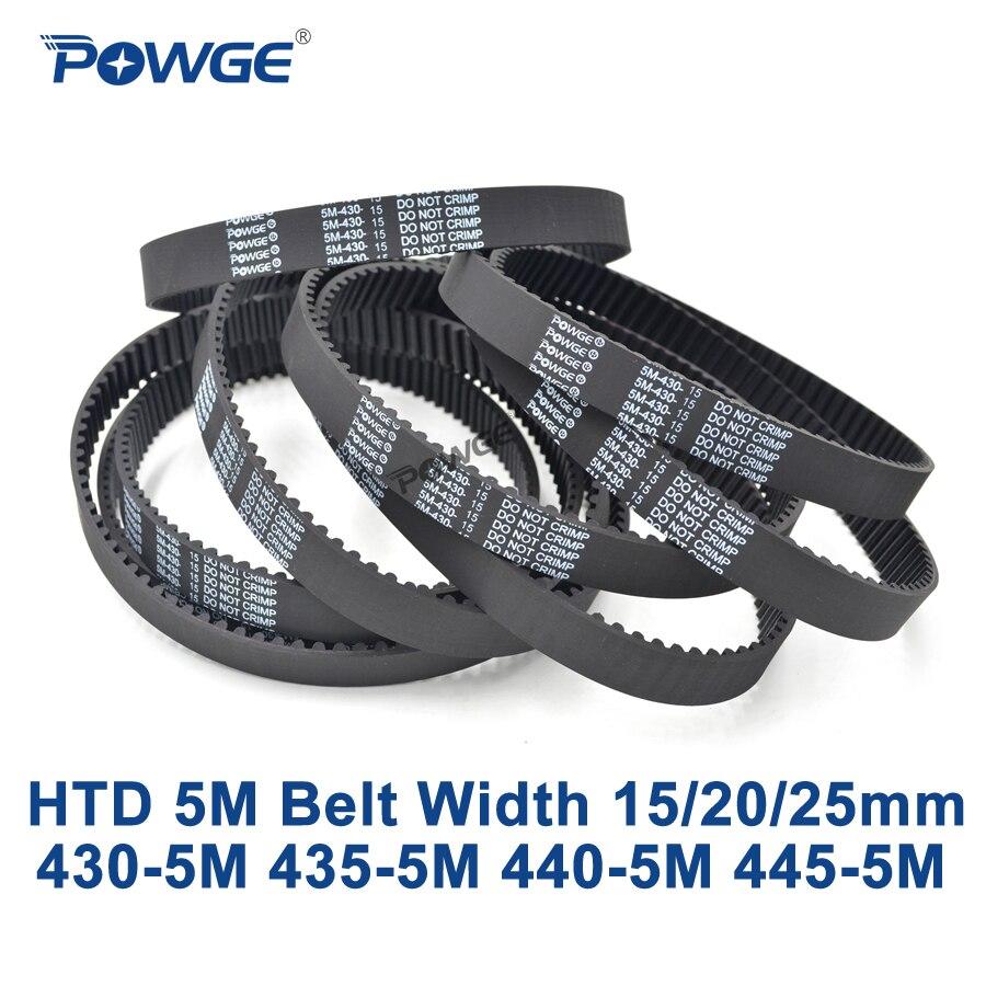 POWGE HTD 5M 타이밍 벨트 C = 430/435/440/445 폭 15/20/25mm 이빨 86 87 88 89 HTD5M 동기식 벨트 430-5M 435-5M 440- 5M 445-5M