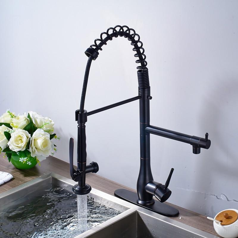 Kitchen Faucet U Bracket: Luxury Dual Sprayer Nozzle Kitchen Mixer Faucet Single