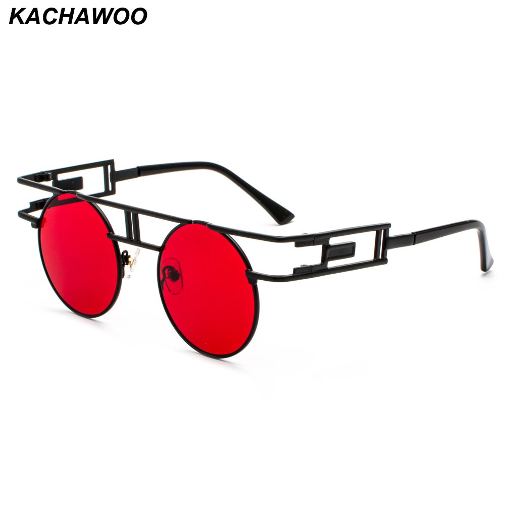 91e3e9ab61 Kachawoo round gothic steampunk sunglasses men vintage black red retro metal  frame steam punk sun glasses women accessories