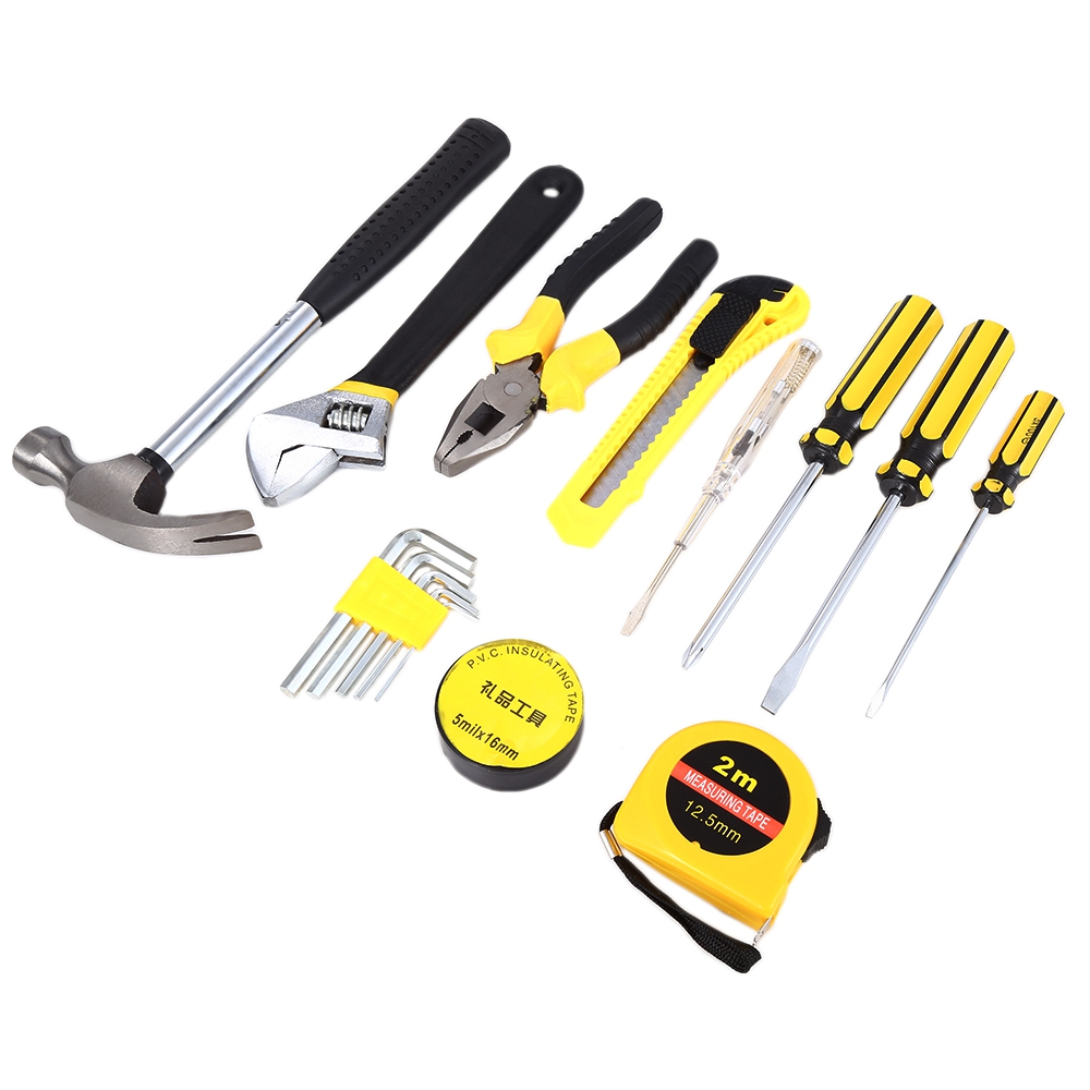 15 in 1 home repair tools kit with high quality screwdriver hammer pliers measuring tape. Black Bedroom Furniture Sets. Home Design Ideas