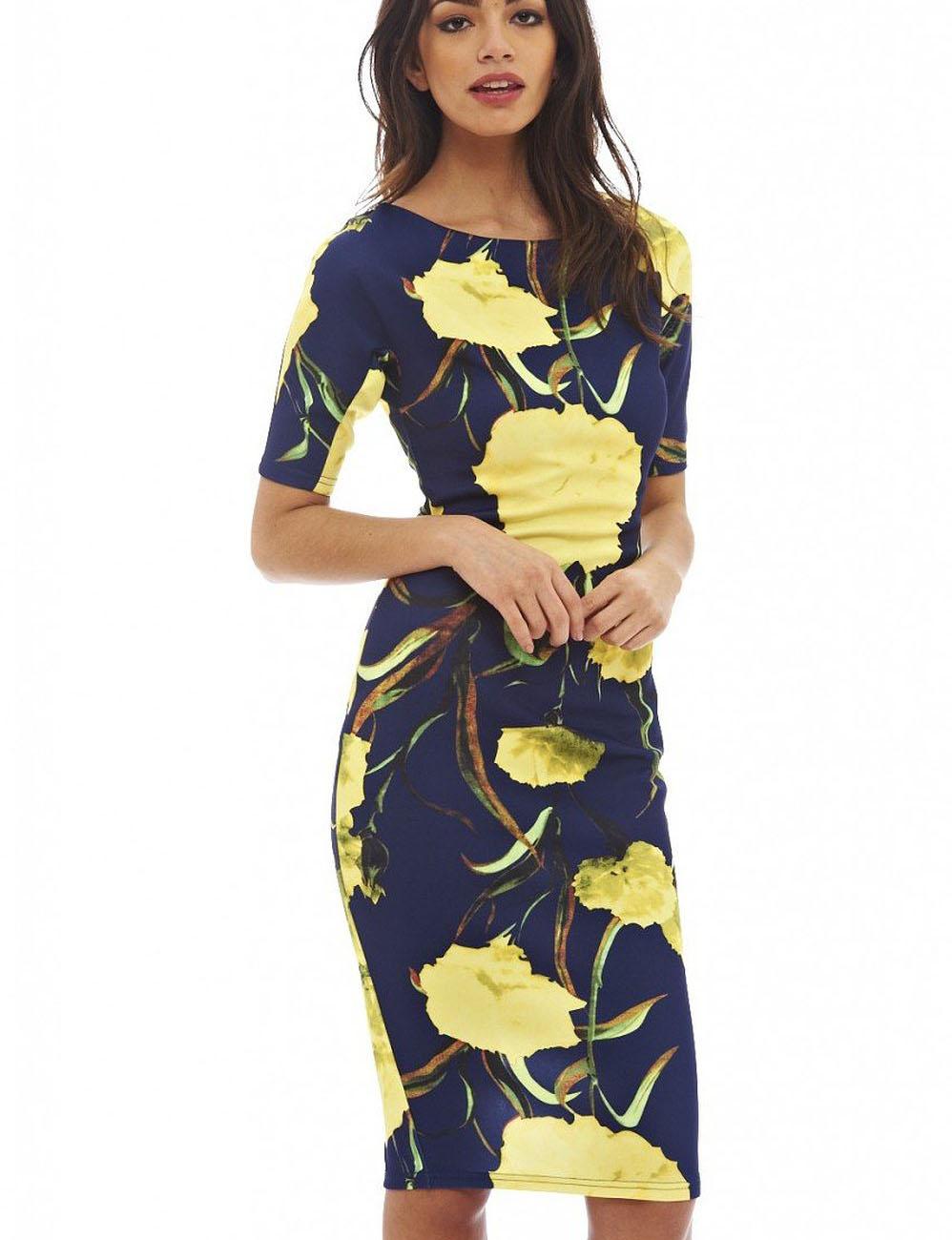 women dress elegant floral print work business casual