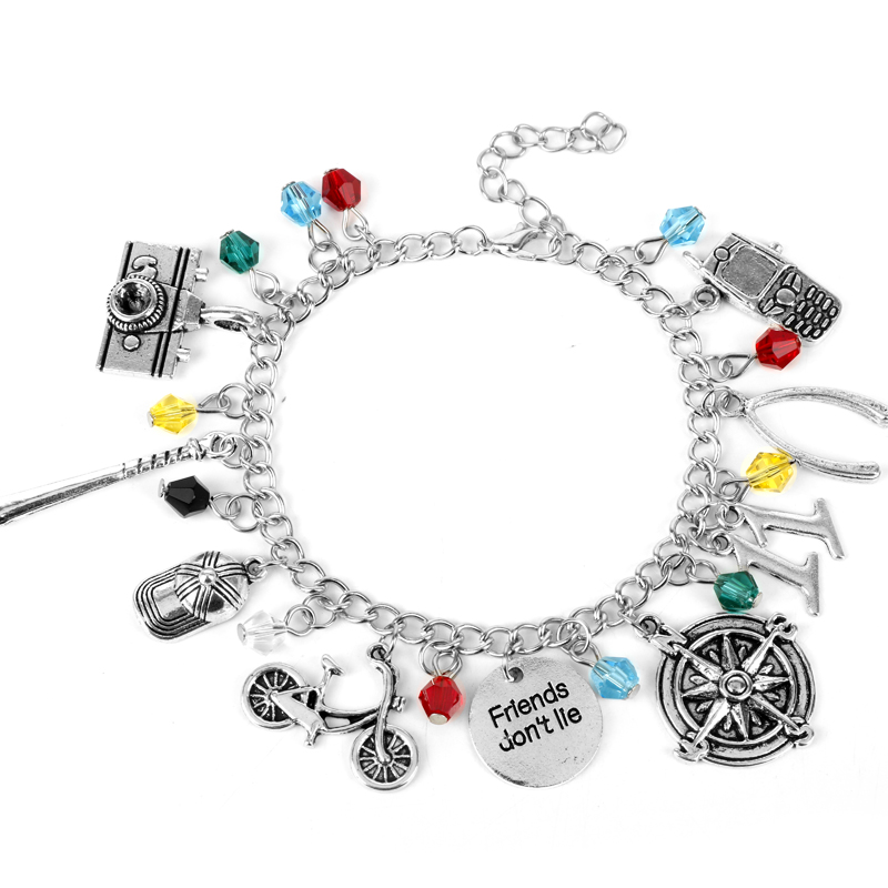 MQCHUN Women Charm Bracelet Stranger Thing Camera Motorcycle Phone Bracelet Bangle Vintage Friends Don't Lie Wristband Jewelry