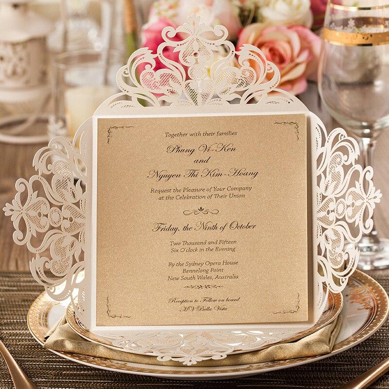 unids flor del cordn elegante de la boda del corte del laser wishmade tarjetas