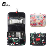 FHEAL Floral Pattern Travel Toiletry Bag Portable Cosmetics Storage Case Bathroom Supplies Organizer Can Hanging Folding