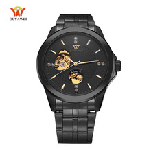 цена на 2017 OUYAWEI Luxury Skeleton Automatic Mechanical Watch Diamond Dial Stainless Steel Band Wrist Watch Men 5 Color for Best Gift