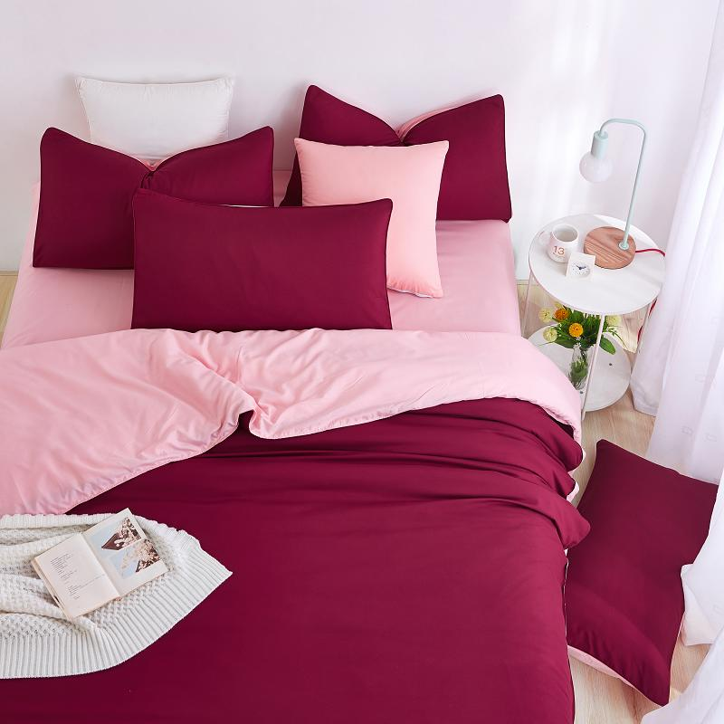 Unikea 2016 new minimalist bedding sets red wine color for Minimalist bed sheets