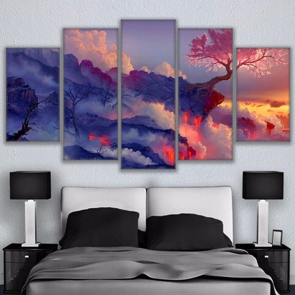 Wandkunst Leinwand Rahmen Malerei 5 Stück Dunkelheit In Licht Poster ...