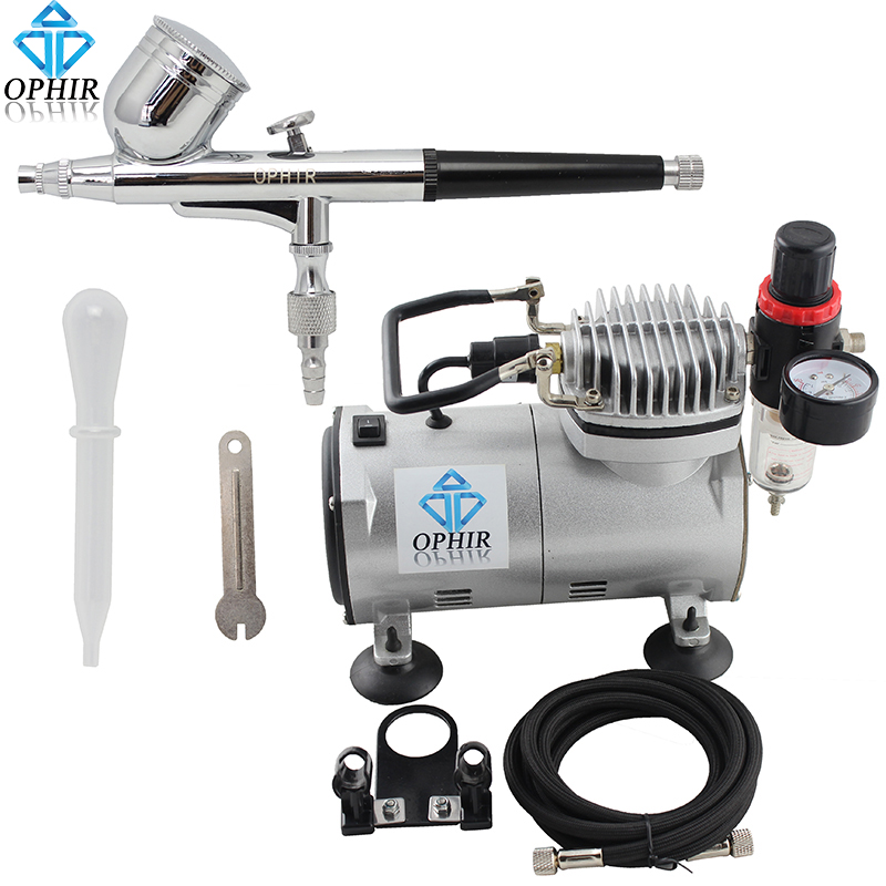 OPHIR 0.3mm Dual-Action Airbrush Kit with Air Compressor Air Pressure Gauge Filter for Nail Art Model Car Paint Makeup_AC089+004 ophir 3 tips dual action airbrush gravity paint air brush with 110v 220v air tank compressor for nail art body paint ac090 070