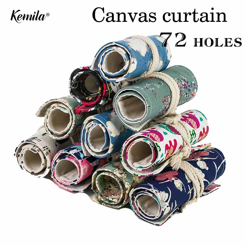 kemila 72Hole Colored Pencil Bag Handmade Canvas Pen Roll Up Bag School Pencil Case For Art Student Painting Escolar Estuche big capacity high quality canvas shark double layers pen pencil holder makeup case bag for school student with combination coded lock