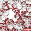 (50 шт. = 1 партия!) Бесплатная доставка AAAA Качество 8x4 мм из металла с серебряным покрытием с украшением в виде кристаллов Стразы рондели разделительные бусины 18 Цвета на выбор - фото