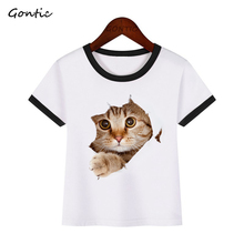 все цены на 3d Cat Cartoon Print Funny Boys/Girls T Shirt Children Design Kawaii Cute Cat Baby Boy tshirt Casual Fashion Kids Short Tops Tee онлайн