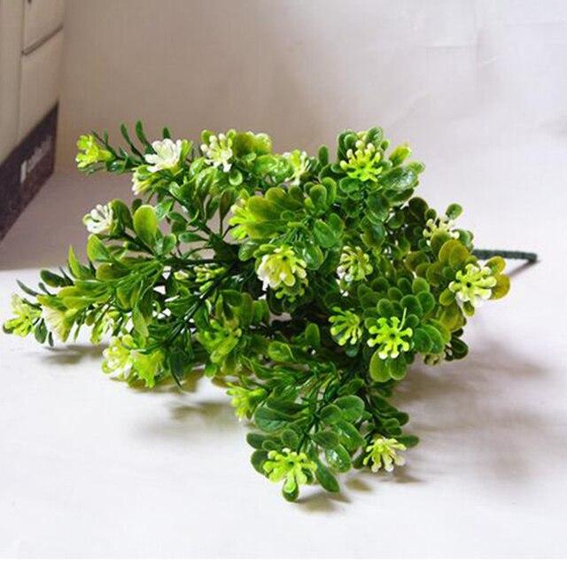Heißer 7 Zweig/Bouquet 35 Köpfe Künstliche Grün Pflanze Gefälschte Milan Gras Bonsai Dekoration Blatt Ecke Rasen Dekoration