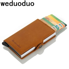Weduoduo 2019 New Metal Men Card Holder High quality Genuine Leather Credit Card Holder With RFID Blocking Fashion Mini Wallet