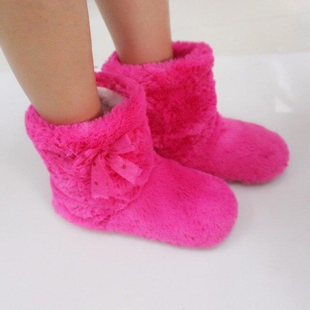 Зимой Женщины Крытый Обувь Non-slip Этаж Тапочки Плюшевые Мягкие EVA терна На Дому Хлопка Обувь Бота Lovely Лук Домой Женщина тапочки