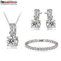 New Arrival Diomand Jewelry Sets Platinum Plated Women Necklace Pendant Earring Bracelet Set Choose Size Of