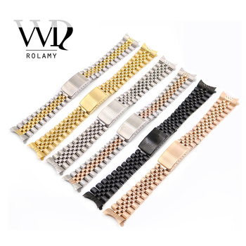 Rolamy 13 17 19 20 22mm Wholesale Hollow Curved End Solid Screw Links Replacement Watch Band Strap Old Style Jubilee Dayjust