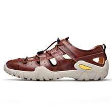 High Quality Men's Leather Outdoor Hiking Trekking Sandals Shoes Sneakers For Men Summer Beach Aqua Water Mountain Shoes 39-47 merrto men s summer aqua water shoes outdoor trekking hiking sandals shoes for man climbing mountain sandals shoes senderismo
