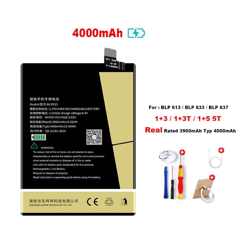 4000mAh Internal Li ion Battery For Oneplus 3 1+ 3T 5 5T A3000 BLP613 BLP633 BLP637 A5000 A5001 5010 Phone Batteries Replacement