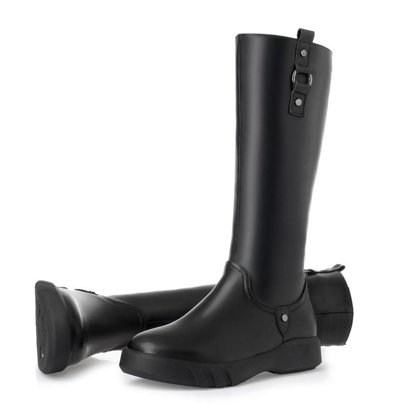 MORAZORA 2019 أعلى جودة الصوف الطبيعي حذاء برقبة للركبة النساء جلد طبيعي سستة بسيطة حذاء مسطح الدافئة الشتاء الثلوج-في بوت للركبة من أحذية على  مجموعة 2