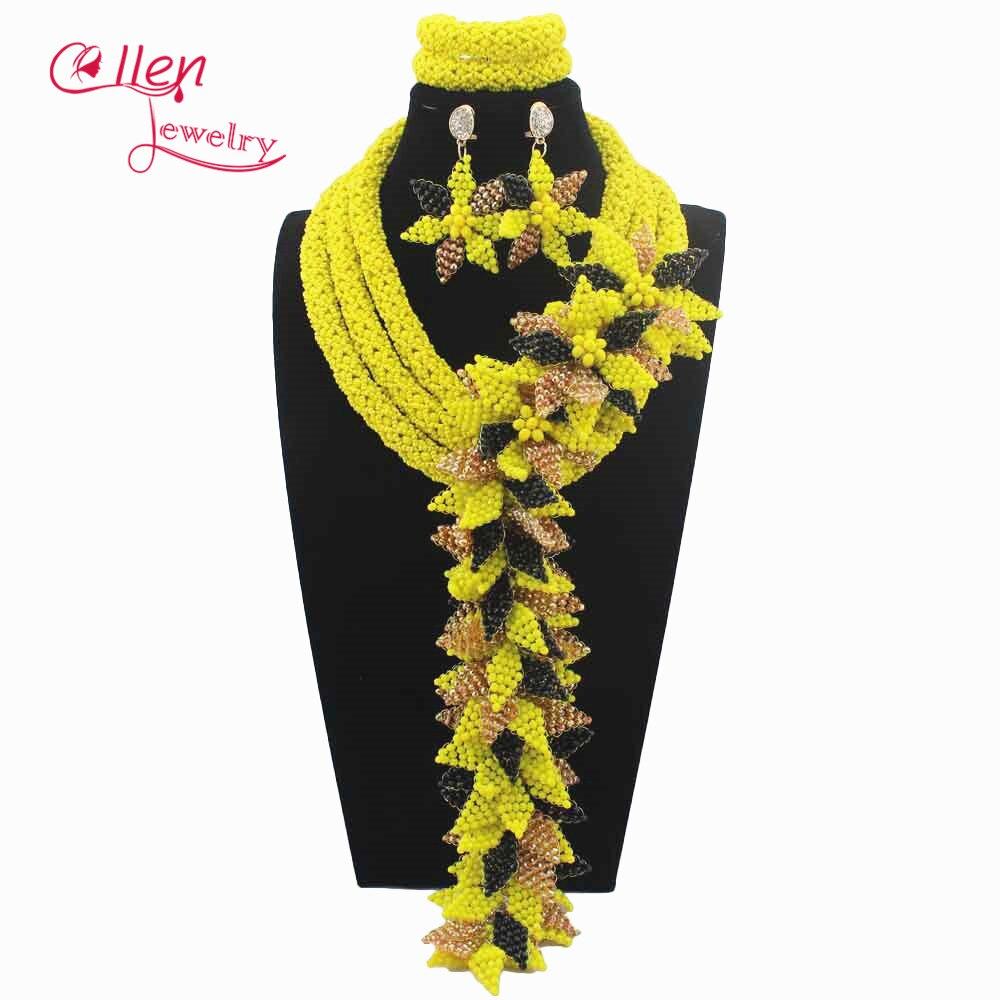 Luxury Yellow African beads jewelry sets india nigerian flower beads beaded wedding bridal necklace dubai jewelry set W14031