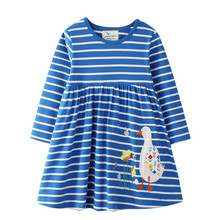Jumping Meters Baby Girls Long Sleeve Dresses Applique Princess Cotton Clothes Party Stripe Children Animals Tutu Autumn Dress