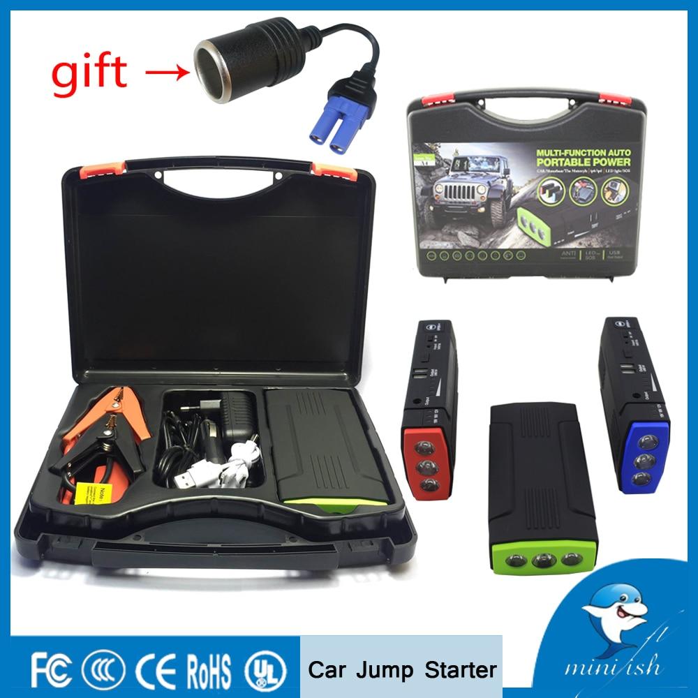 Portable mini multifunción arranque de emergencia automático cargador de batería Motores Booster Baterías portátiles coche Salto de arranque para 12 V batería