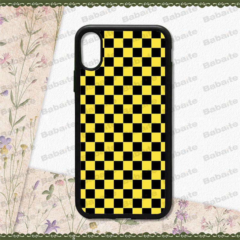 Babaite cuadros rejilla negro y blanco vaca suave silicona negro Funda para teléfono para iPhone 8 7 6 6S Plus X XS X MAX 5 5S SE XR 10 cubierta