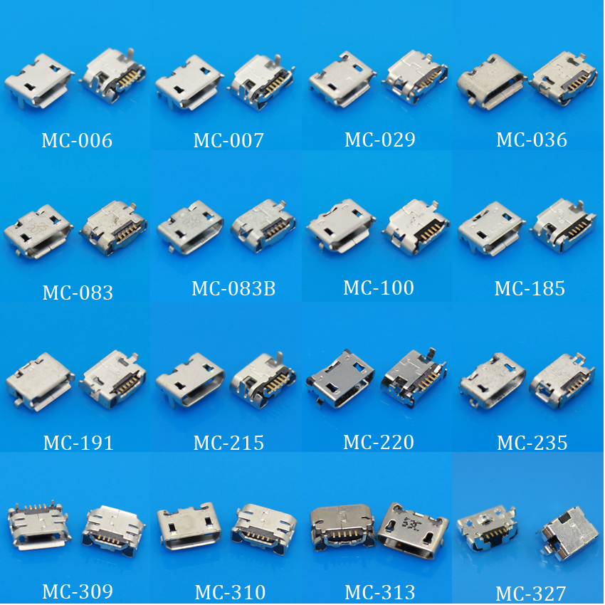 JingChengDa 16Models Micro USB Jack 5P 5pin USB Charging Socket Connector Mix SMD DIP V8 Port Charging Data Plug 1x 9models 5 9 6 4 7 2mm 5pin 5p smt dip micro usb tail charging connector smartphone mobile phone charging socket 5p v8 port