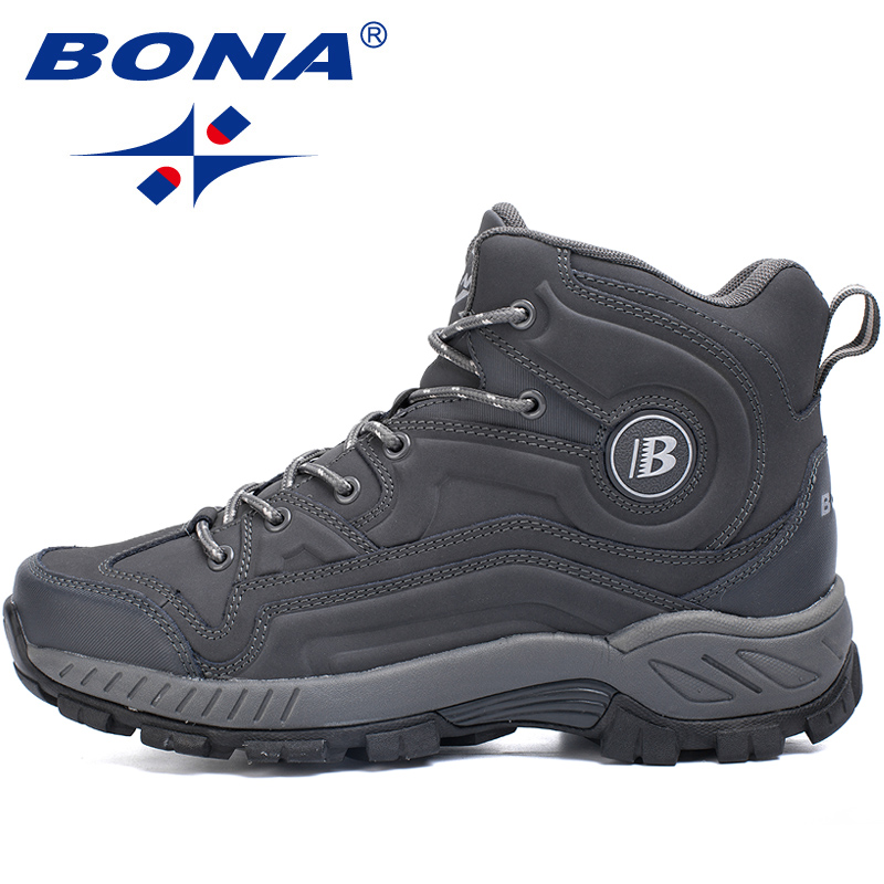 Gaya Khas BONA Baru Pria Hiking Sepatu High-Cut Sepatu Olahraga Luar  Ruangan Joging Athletic ba43613437