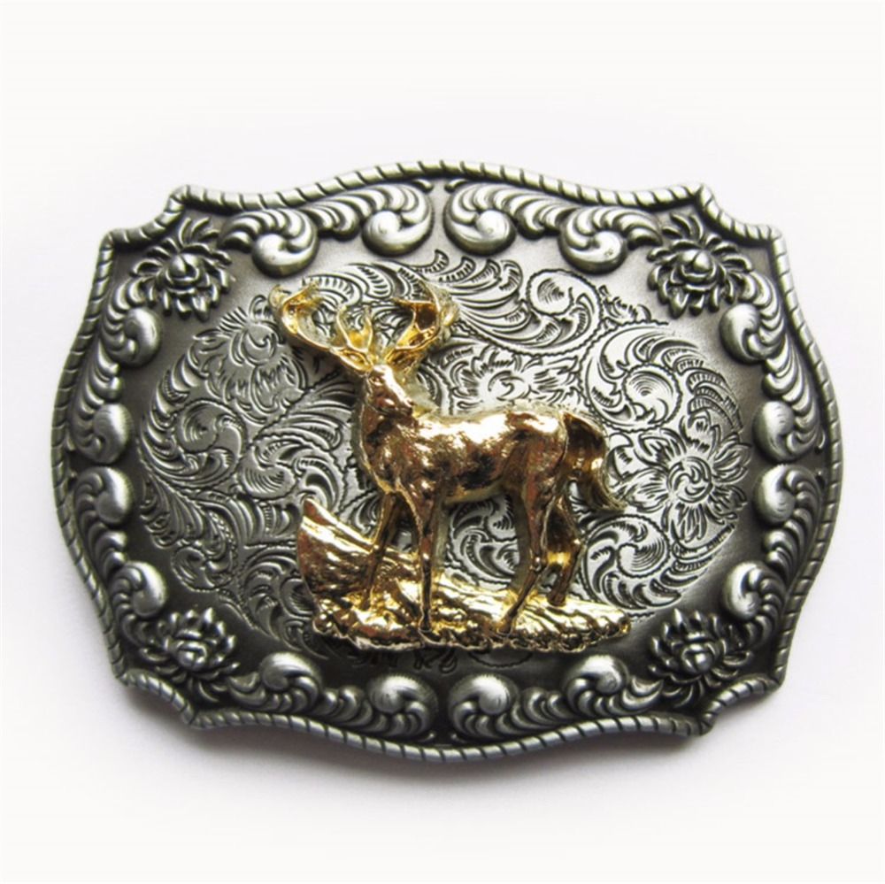 JEAN'S FRIEND New Original Western Cowboy Rodeo Deer Double Color Belt Buckle Gurtelschnalle Boucle De Ceinture