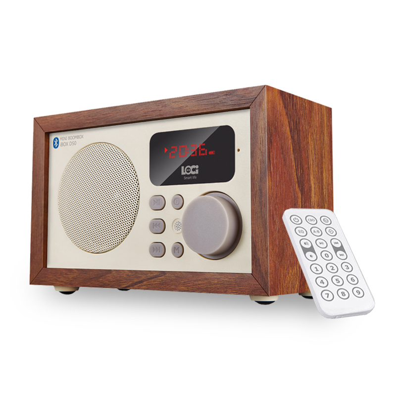 Retro iBox D50 Multifunction Wooden Bluetooth Speaker with FM Radio Aux in USB TF card MP3