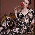 Três-peça pijama conjunto Ladie Imitar Dragão De Seda Mulheres sleepwear pano + short + casaco preto v profundo sexy camisola de Banho Roupa de Dormir