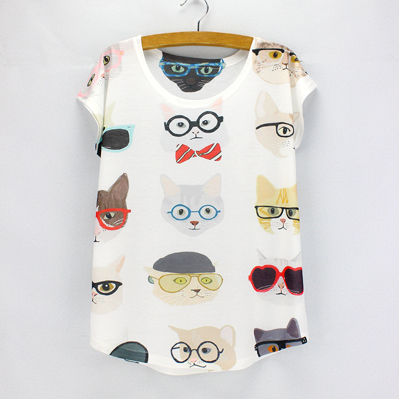 Buy cool cats printed female top tees for Buy printed t shirts wholesale