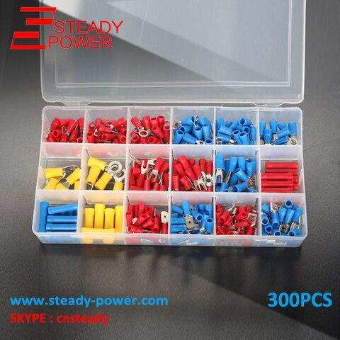 300 pcs kit isolados terminator spade terminais de cravar conectores bunda fio eletrico vermelho amarelo