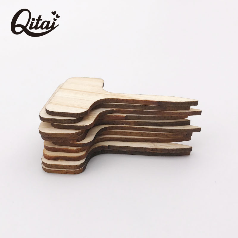 QITAI 100Pcs 8.5x4.8cm Plant Labels bamboo Garden T-type Tags Markers Nursery Pots Decoration Seedling Tray Mark Tools