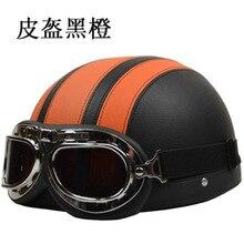 Free shipping motorcycle helmet half helmet scooter helmet electric car lovers personality / Black and orange leather helmet
