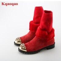 Металлический круглый носок кристалл украшен носок сапоги Для женщин Зимняя обувь меховые Дизайн полусапожки на низком каблуке Элитный бр
