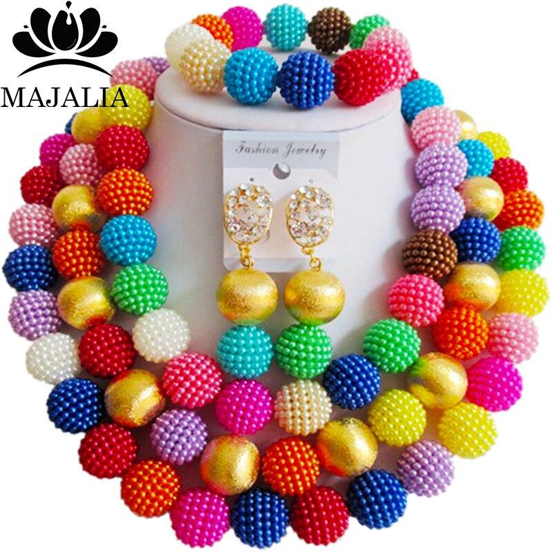 Majalia Fashion Women Multicolors African Costume Jewelry Set Nigerian Wedding African Beads Jewelry Set  CX-013 Majalia Fashion Women Multicolors African Costume Jewelry Set Nigerian Wedding African Beads Jewelry Set  CX-013