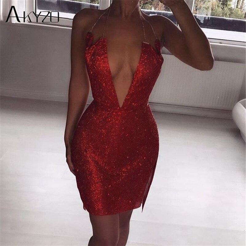 AKYZO Women Expensive Red Rhinestone Mini Dress Fashion Luxury Sexy Deep V Split Irregular Backless Nightclub Party Wear Dress