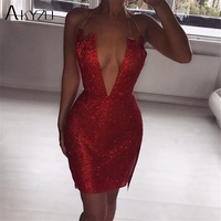 AKYZO Women Expensive Red Rhinestone Mini Dress Fashion Luxury Sexy Deep V Split Irregular Backless Nightclub Party Wear Dress