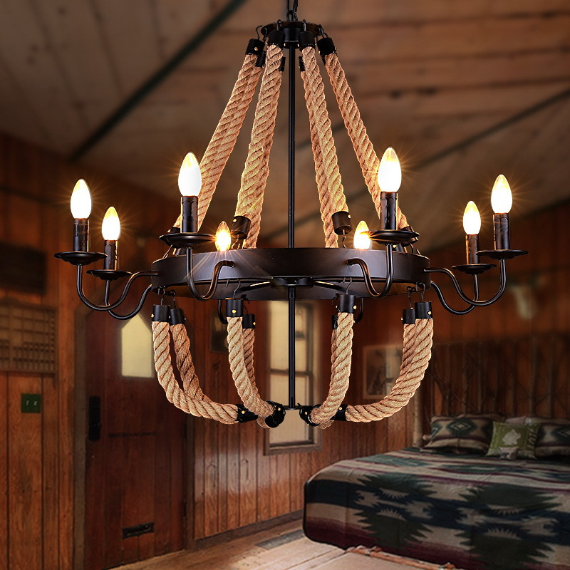 110 v 220 v Loft Fer Corde lustre éclairage noir en fer forgé lustre hall salle à manger lustres plafondlamp aydinlatm22